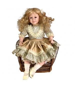 Кукла фарфоровая, на кресле