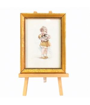 Картинка в золотой раме, на подставке