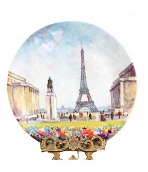 Декоративная тарелка, 12 Достопримечательностей Парижа, Эйфелева башня Eiffelturm tour Eiffel