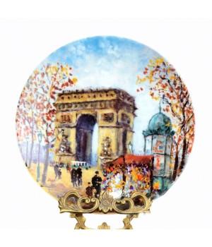 Декоративная тарелка, 12 достопримечательностей Парижа Триумфальная арка Шарль де Голль Дали