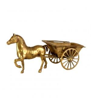 Лошадь бронзовая с повозкой, статуэтка, фигура